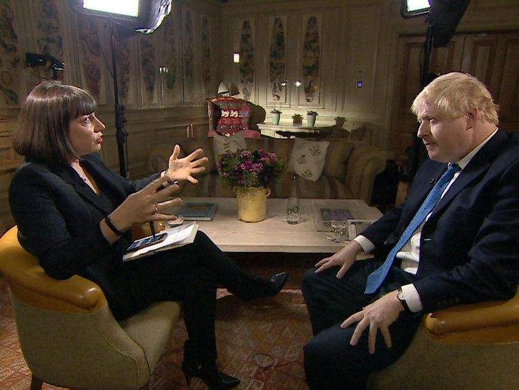 Boris Johnson told Sky News' Beth Rigby he would not apologise for his Burka comments