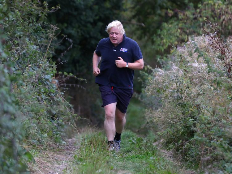 Boris Johnson jogs near his home in Oxfordshire