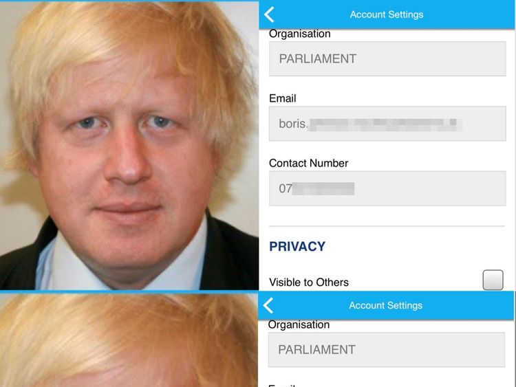 The phone numbers of MPs including Boris Johnson were publicly accessible
