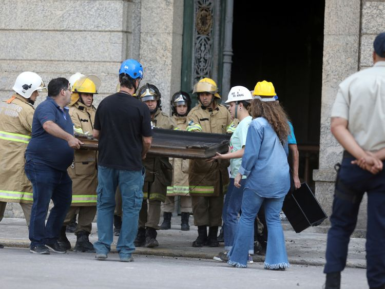 Brazil museum fire: Most of the building's 20 million artefacts feared destroyed