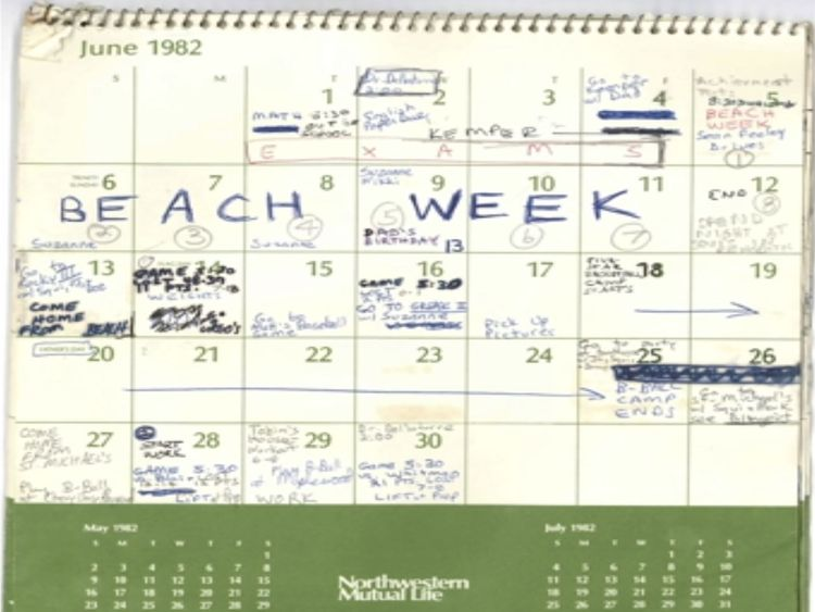 "The page for June has ""beach week"" scrawled across some of the days. Pic: Senate Judiciary Committee"