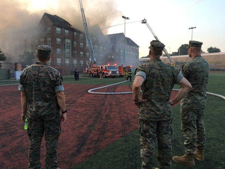 Marines were drafted into help with the fire efforts