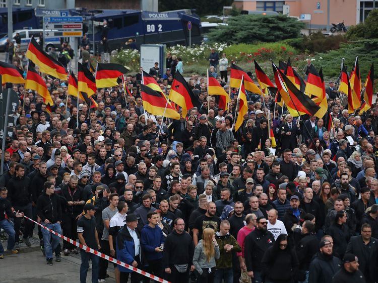 Far-right protest in Chemnitz, Germany