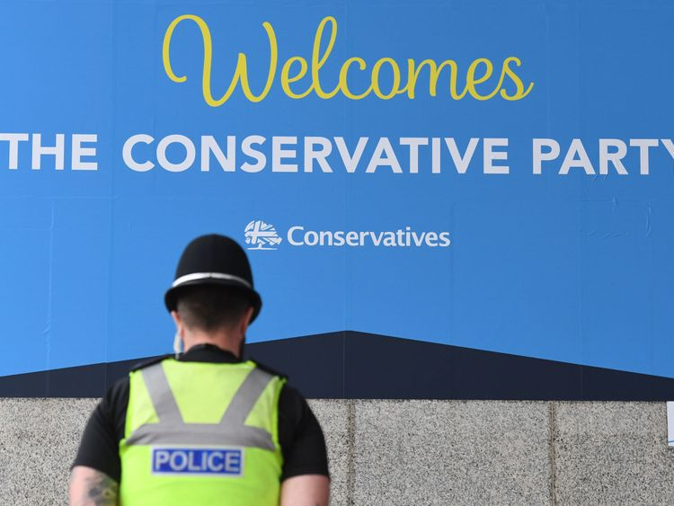 A police officer outside the Conservative Party annual conference at the International Convention Centre, Birmingham.