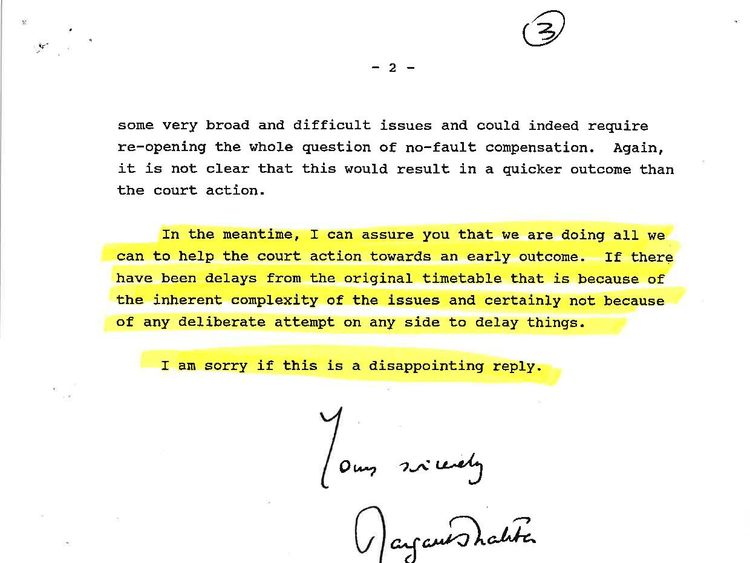 Mrs Thatcher wrote the government was doing everything to help towards an early outcome for victims