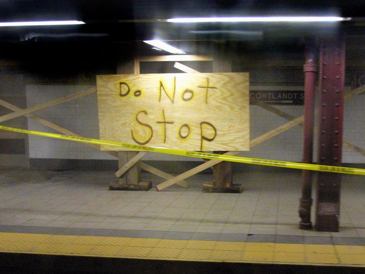 396638 01: The Cortlandt Street subway stop on the N and R lines near Ground Zero remains closed October 30, 2001 in New York City. The N and R subway lines returned to weekday service yesterday for the first time since September 11th