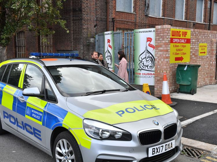 Police outside The Hussaini Association in Oxgate Lane, Cricklewood following an incident where two people were injured after a car hit pedestrians