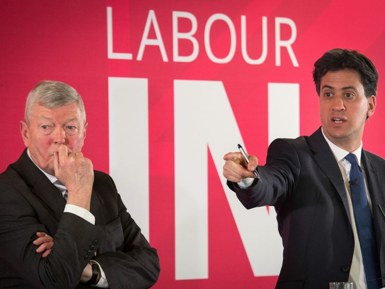 Former Labour leader Ed Miliband (right) and former Home Secretary Alan Johnson speak at an event hosted by the Labour Party backing a vote to stay in the EU in June's forthcoming referendum on Britain's membership, at the Coin Street Neighbourhood Centre, London. PRESS ASSOCIATION Photo. Picture date: Tuesday March 22, 2016. See PA story POLITICS EU. Photo credit should read: Stefan Rousseau/PA Wire