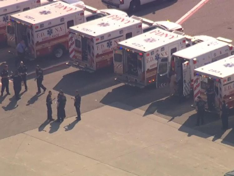 Dozens of ambulances met the aircraft