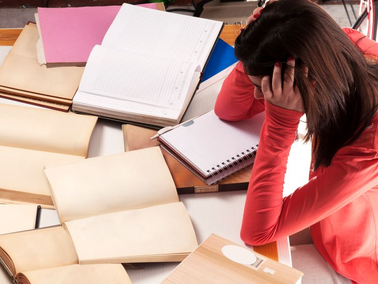 Exams were the main cause of stress for most girls and woman surveyed