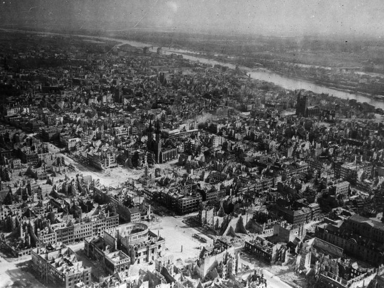 The devastated city of Magdeburg on the Elbe after heavy Allied bombing