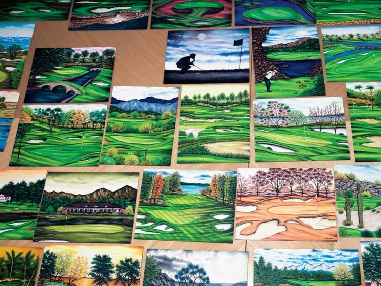 Some of the artwork by Valentino Dixon. Pic: Golf Digest