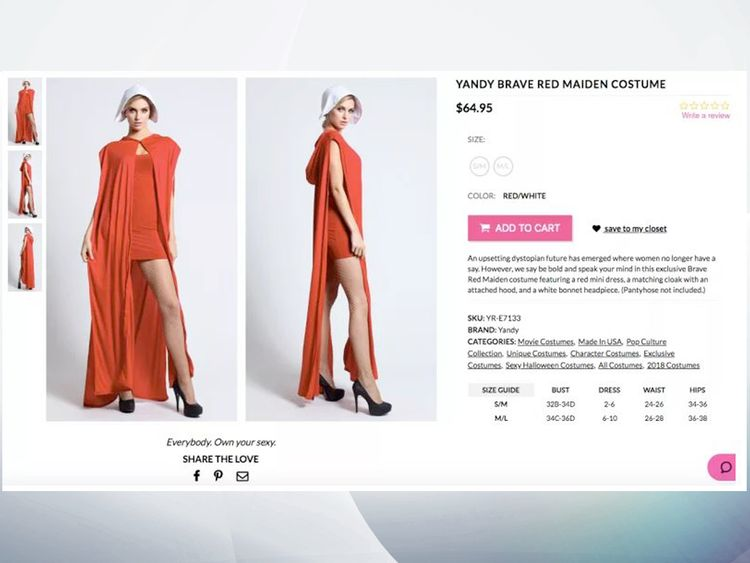'Sexy' Handmaid's Tale outfit pulled after online backlash