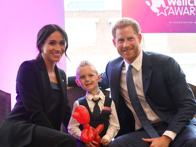 The Duke and Duchess of Sussex meet four-year-old Mckenzie Brackley