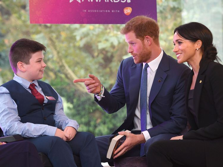The Duke and Duchess of Sussex meet 12 year old Jake Stacey