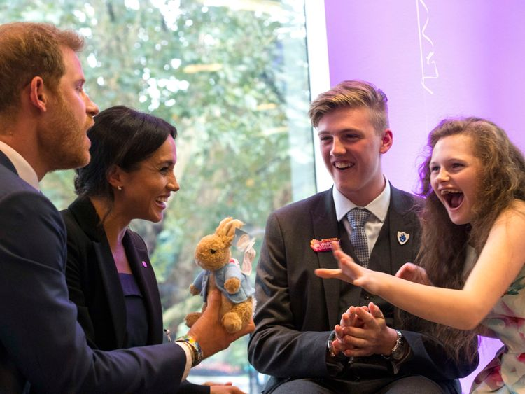 The Duke and Duchess of Sussex with Jacob and his sister Melissa