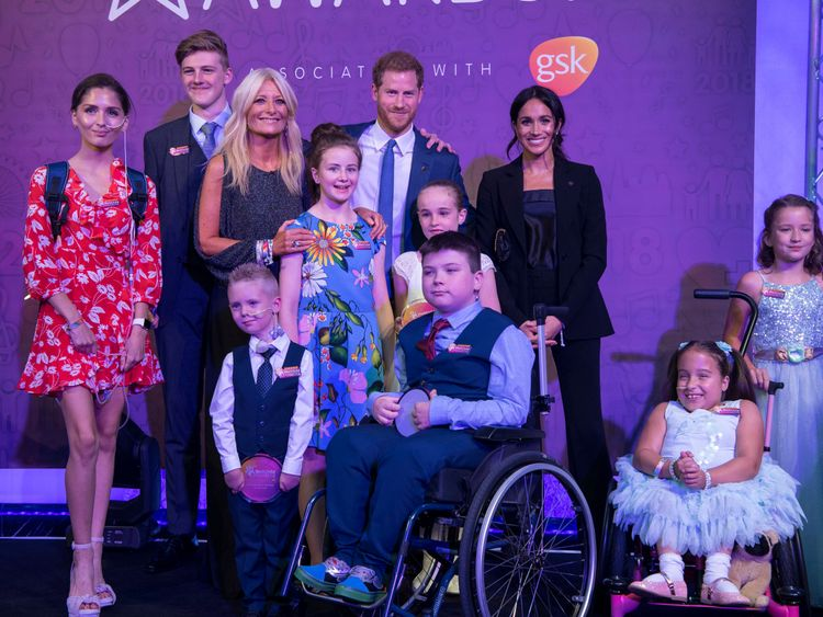 The Duke and Duchess of Sussex during the annual WellChild Awards