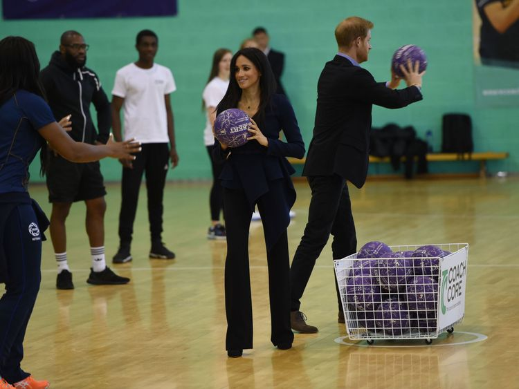 Harry and Meghan competed against each other in a netball-based game