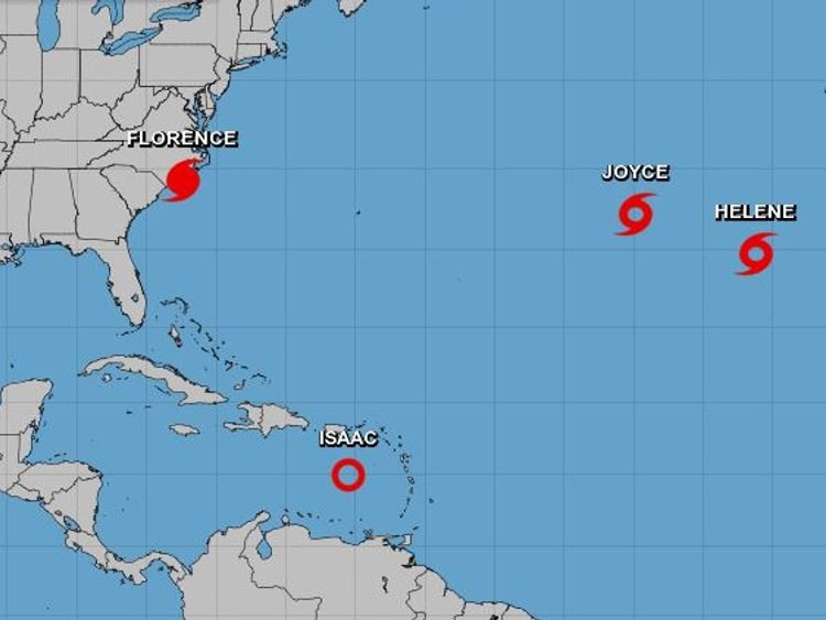 Hurricane Florence was about to make landfall at 5am ET (10am BST) on Friday. Pic: NHC
