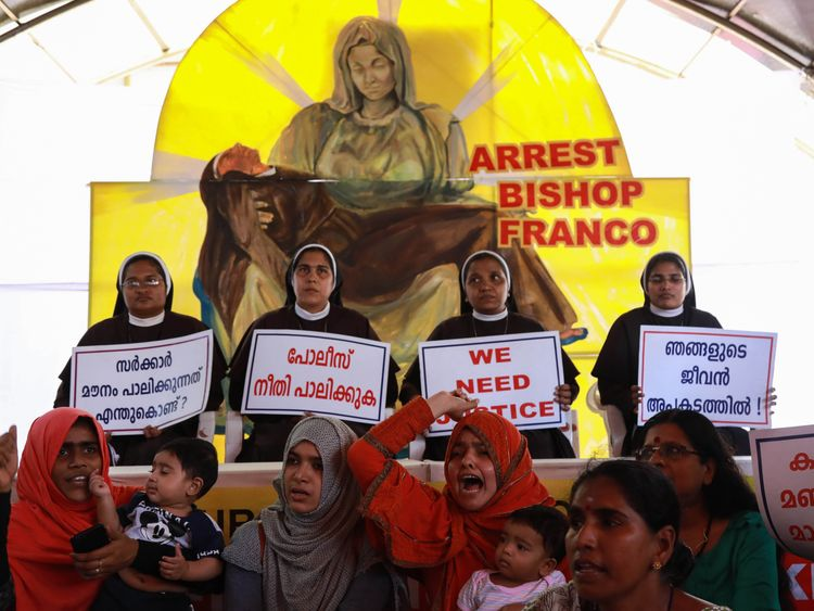 Indian Christian nuns and Muslim supporters protest as they demand the arrest of Bishop Franco Mulakkal