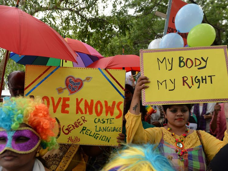 People at a pride event in Chennai in June