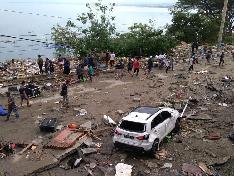 The earthquake and tsunami hit Palu on Sulawesi island