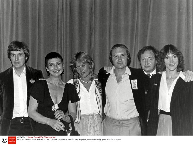 The cast of 'Blake's 7' in the 1980s. Jacqueline Pearce is second left