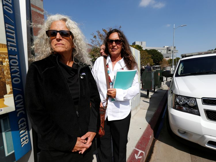 Janet Wolfe and Marla Randall, sisters of the late Randy California leave federal court after a hearing in a lawsuit involving Led Zeppelin's rock classic song Stairway to Heaven in Los Angeles, California June 14, 2016