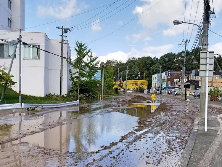 Water and mud covers the road in Hokkaido Japan. Pic @TAKA_RR