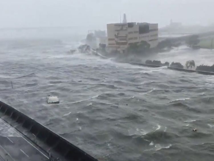 Intense high wind from Typhoon Jebi blows in Nishinomiya City, Hyogo Prefecture, Japan