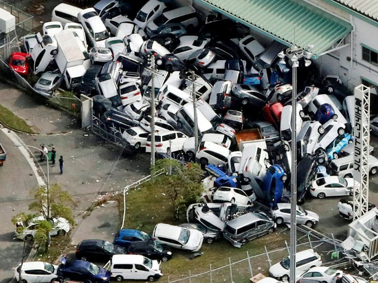 Vehicles damaged by Typhoon Jebi in Kobe, western Japan,