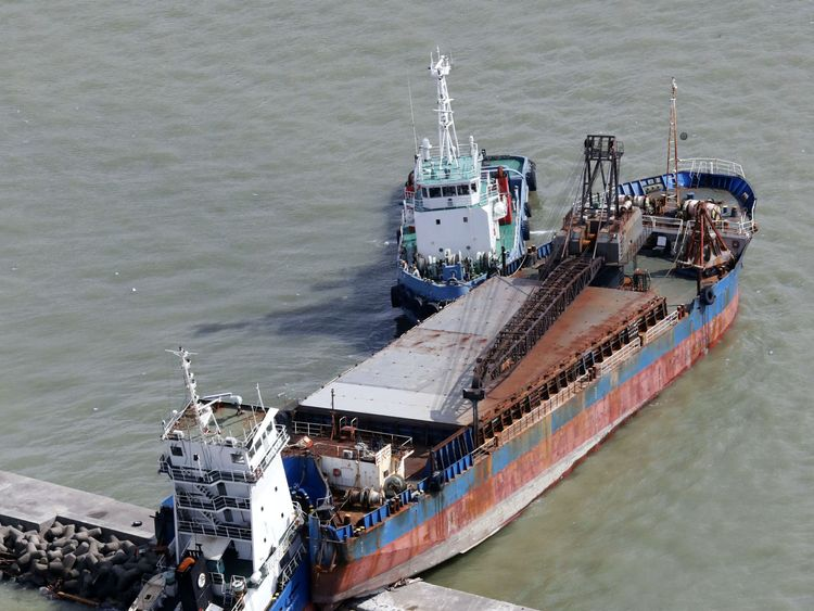 A ship damaged by Typhoon Jebi in Nishinomiya, western Japan