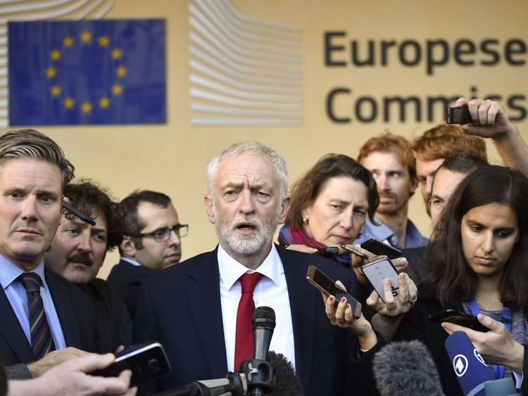 Jeremy Corbyn and Keir Starmer stage a press conference after the meeting Michel Barnier