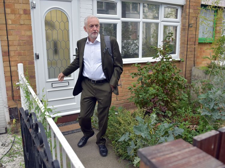 Labour leader Jeremy Corbyn leaves his house in London ahead of a meeting of the party's National executive Committee
