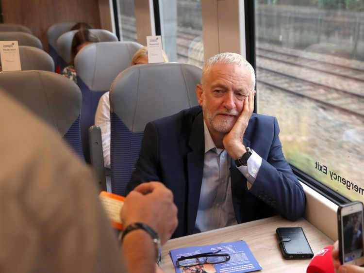 Jeremy Corbyn having his ticket checked while on a train from Liverpool Lime Street Station, Liverpool, as he begins the route of Crossrail for the North