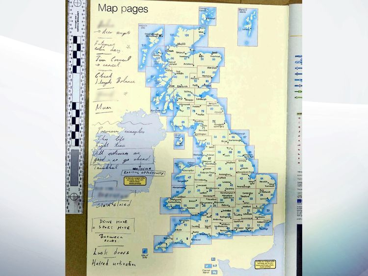 Writings of Westminster terrorist Khalid Masood on a road atlas that was shown to the inquest at the Old Bailey