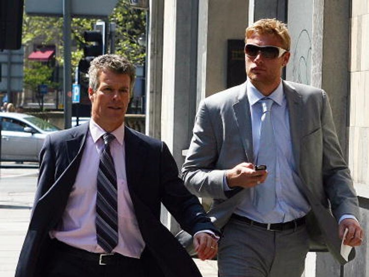 Andrew Flintoff (R) arrives with Nick Freeman at Liverpool Magistrates' Court in 2008