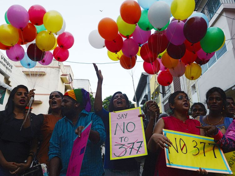 India celebrates gay sex ruling with dance, chocolate and tears