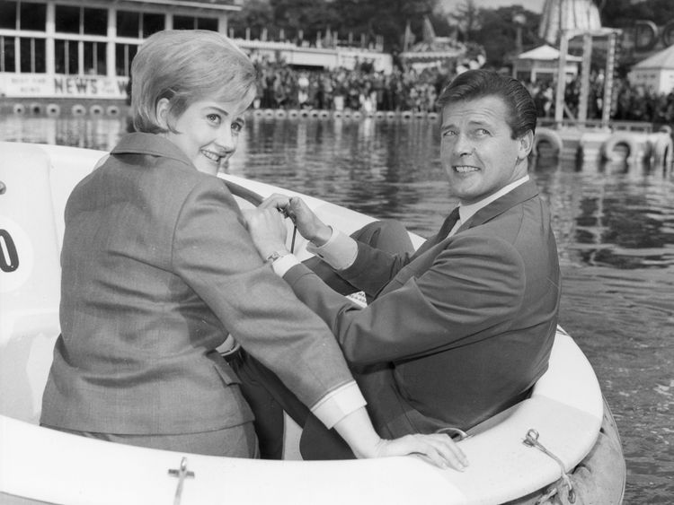 Liz Fraser with actor Roger Moore in May 1966