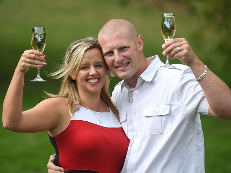 Daniel Peart and his wife Charlotte celebrate their £1m EuroMillions HotPicks win