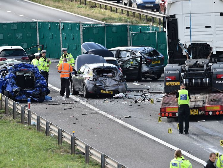 The seven-vehicle collision happened at around 8.30am on Thursday