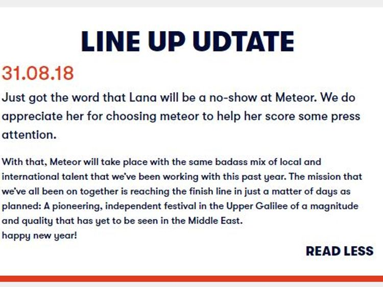 Lana Del Rey drops out of Israel concert