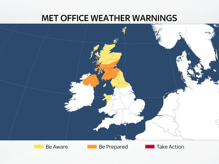 Wind warnings issued by Met Office for Storm Ali