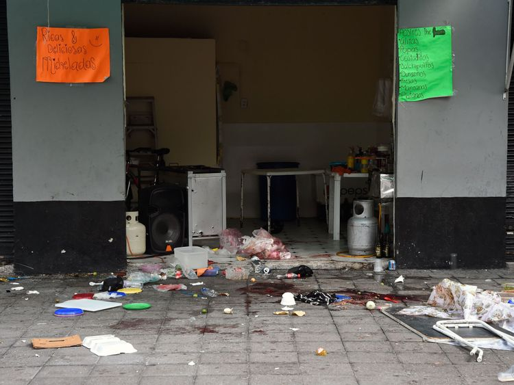 Image    Debris around Plaza Garibaldi after the shooting