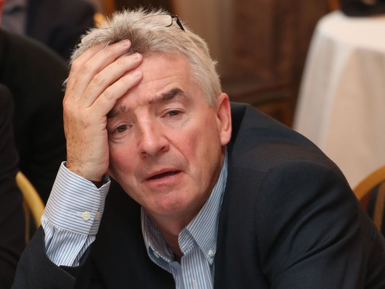 Ryanair CEO Michael O'Leary holds a media briefing after the company AGM at the City North Hotel in Co Meath