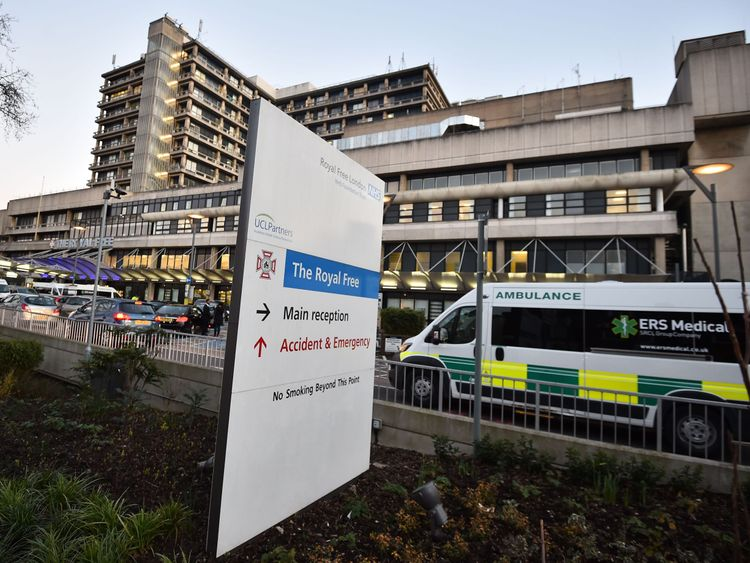 The Nigerian patient was transferred to the Royal Free in London
