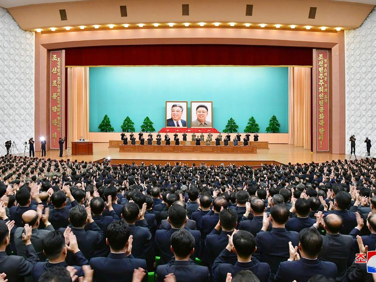Officials at a ceremony to celebrate North Korea's 70th anniversary