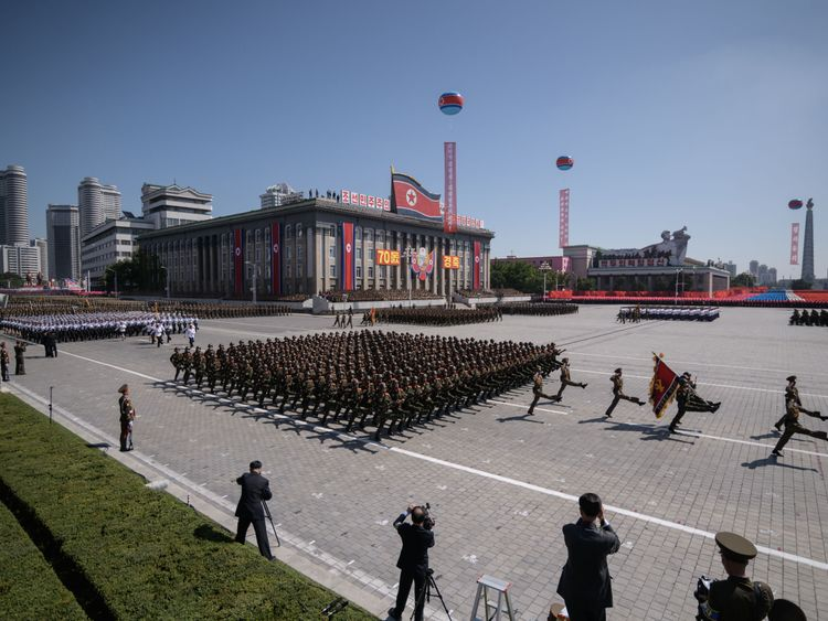 Korean People's Army (KPA) soldiers march during a military parade and mass rally on Kim Il Sung square in Pyongyang on September 9, 2018