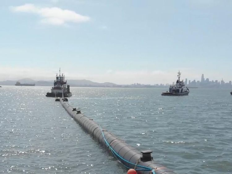 An ocean floater being used in The Ocean Cleanup in the US