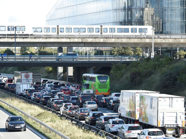 Vehicles sit in traffic after Oresund Bridge, near Copenhagen, is closed due to a police operation in Denmark September 28, 2018